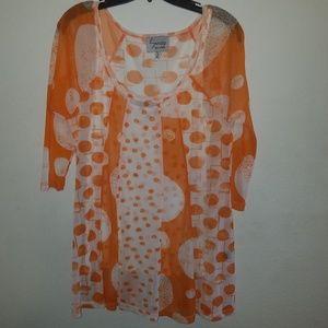 Lynn Ritchie | Orange & White Polka Dot Blouse